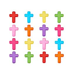 Mixed Color Chunky Acrylic Cross Beads