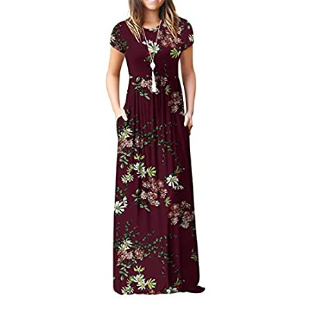Fashion Shopping VIISHOW Women's Short Sleeve Loose Plain Maxi Dresses Casual