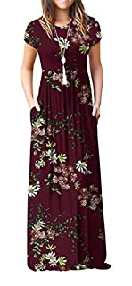 VIISHOW Women's Short Sleeve Floral Printed Dress Loose Plain Maxi Dresses Casual Long Dresses with Pockets(Floral Wine red XS) (B07PNGB9H3) | Amazon price tracker / tracking, Amazon price history charts, Amazon price watches, Amazon price drop alerts