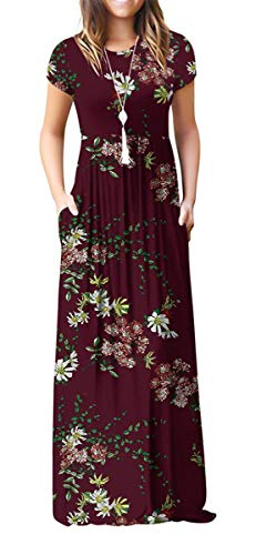 VIISHOW Women's Short Sleeve Floral Printed Dress Loose Plain Maxi Dresses Casual Long Dresses with Pockets(Floral Wine red XL)