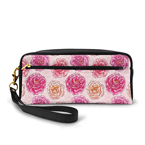 Pencil Case Pen Bag Pouch Stationary,Romantic Rose Petals Fragrance Bouquets Love Classic Blooms Graphic,Small Makeup Bag Coin Purse