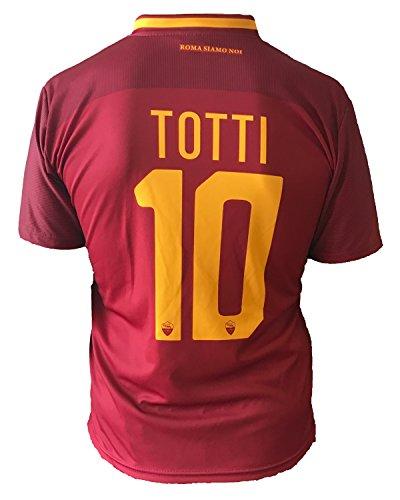 Trikot Fußball Roma Francesco Totti 10 Replik Autorisierte 2017-2018 Kinder Junge Männer (Größe Large)