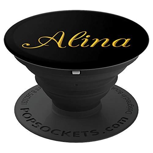 Alina Gelb auf Schwarz. Nennen Sie Alina. - PopSockets Ausziehbarer Sockel und Griff für Smartphones und Tablets