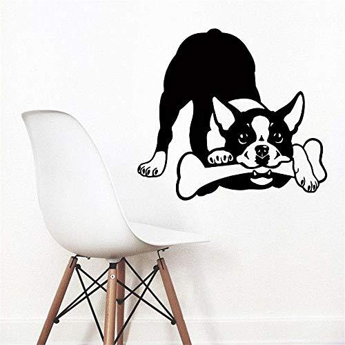 Fototapete Boston Terrier Vinyl Aufkleber Welpen Zoohandlung Schlafzimmer Dekor gelb 103cm x 114cm