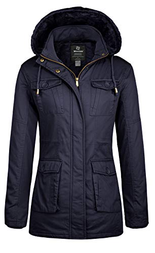 Wantdo Women's Warm Winter Sherpa Lined Parka Coat Anorak Jacket Navy,M