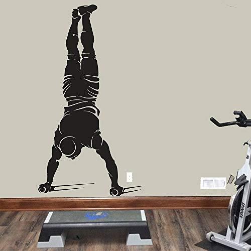 Gimnasio Fitness Deportes Barras paralelas Entrenamiento de brazos Hombre musculoso Etiqueta de la pared Vinilo Arte Calcomanía Dormitorio Sala de estar Club de culturismo Estudio Decoración para