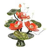 Fengshop Árbol Artificial Estilo Chino Bonsai Jade White Lotus Decoration Simulation Lotus Potted Artificial House Plants Office Desktop Exhibir Planta Falsa