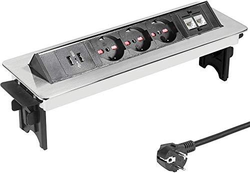 Elbe Inno Multipresa a scomparsa da incasso, prese da incasso a scomparsa con 3 prese Standard Italiano, Presa multipla da incasso con 2 USB, 2 RJ45 LAN, in acciaio inox per tavolo, scrivania