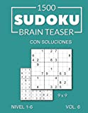 1500 Sudoku Brain Teaser 9x9 con soluciones Nivel 1-6 Vol. 6