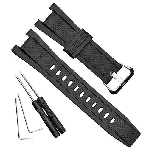 OliBoPo, cinturino di ricambio impermeabile in resina naturale per Casio GST-210, GST-W110, GST-W100, GST-S110, GST-S100, GST-B100, GST-S300. Silver Buckle