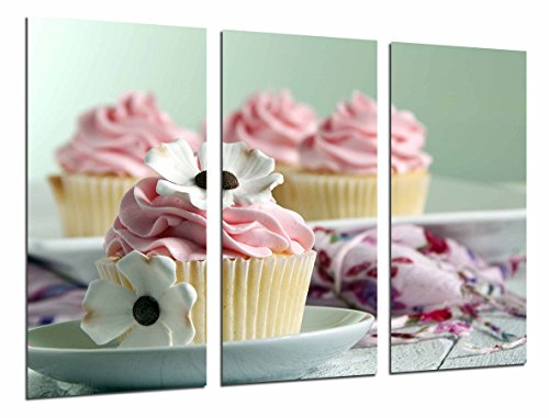 Cuadro Fotográfico Cupcake rosa, pasteleria, cafeteria Tamaño total: 97 x 62 cm XXL