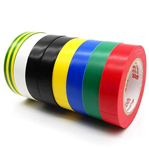 ビニールテープ 8卷7色入 電気絶縁テープ ハーネステープ 耐熱 テープ 15mm x 15m