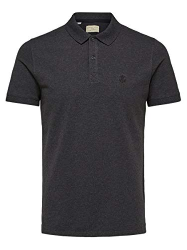 SELECTED HOMME Herren Shdaro Ss Embroidery Polo Noos T-Shirt , Grau (Dark Grey Melange) , XX-Large
