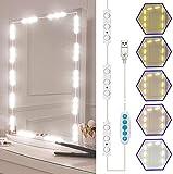 Viugreum Luci da Specchio Dimmerabili LED, Luci Specchio Make Up Kit Illuminato, con 45 Leds Dimmerabili per 5 Colori 5 Livelli di Luminosità, Lampada da Trucco con Cavo di Alimentazione USB Dimmer