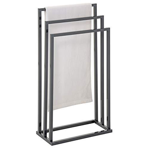 IDIMEX Porte-Serviettes sur Pied KUNO Portant pour vêtements et Linge de Salle de Bain avec 3 Niveaux d'étendage sur différentes hauteurs, Structure en métal laqué Gris