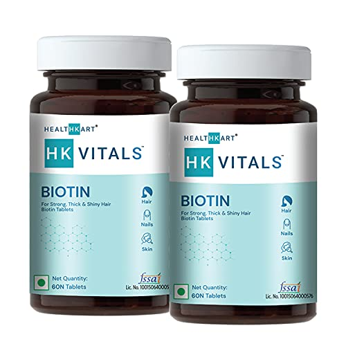 HealthKart Biotin 10000mcg, Supplement for Hair Growth, Strong Hair and Glowing Skin, Fights Nail Brittleness, 120 Biotin Tablets