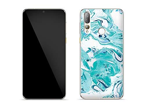 etuo Hülle für HTC Desire 19 Plus - Hülle Fantastic Hülle - Blaue Marmor Handyhülle Schutzhülle Etui Hülle Cover Tasche für Handy