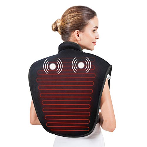 Heating Pad for Neck and Shoulders - Heat Wrap with Adjustable Heated Levels & Vibration Massage for Neck and Shoulder Back, Heating Pad with Auto Shut Off