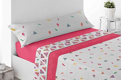 Juego de sábanas Estampadas de Microfibra Transpirable Mod. Talpe (Disponible en Varios tamaños y Colores) (Fresa, Cama de 135 cm (135_x_190/200 cm))