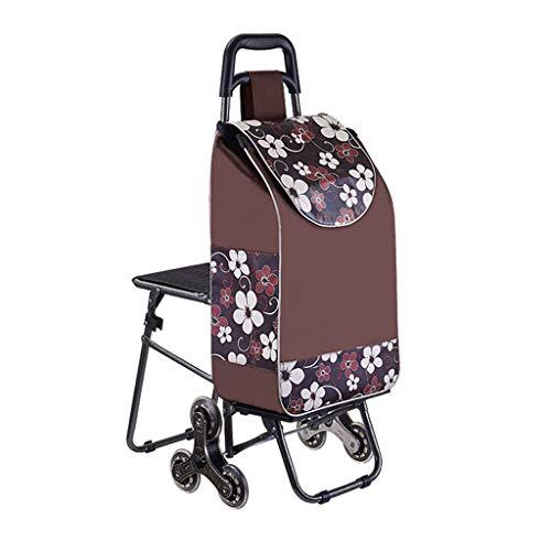 YCZM 6-Rad-Einkaufswagen mit Sitzgelegenheiten, Faltbare Gehäuse & robuste wasserdichte Tasche,C