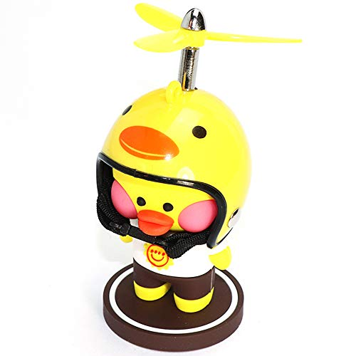 wonuu Yellow Duck Car Dashboard Decorations Cute Duck Car Ornaments with Propeller Helmet for Adults, Kids, Women, Men