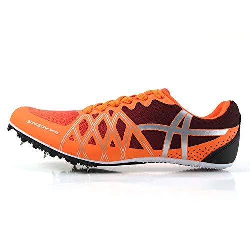 X/L Zapatos con Clavos de Pista Zapatillas de Atletismo de Atletismo para Mujer y Hombre Zapatillas de Atletismo para niños y niñas Zapatillas de Carreras con Clavos (Color : Orange, Size : 7.5 UK)