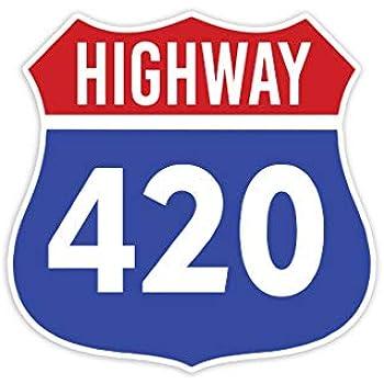"Pride Sticker Highway 420 Weed Cannabis Marijuana - Sticker Decal Notebook Car Laptop 4"" x 5"" (Color)"