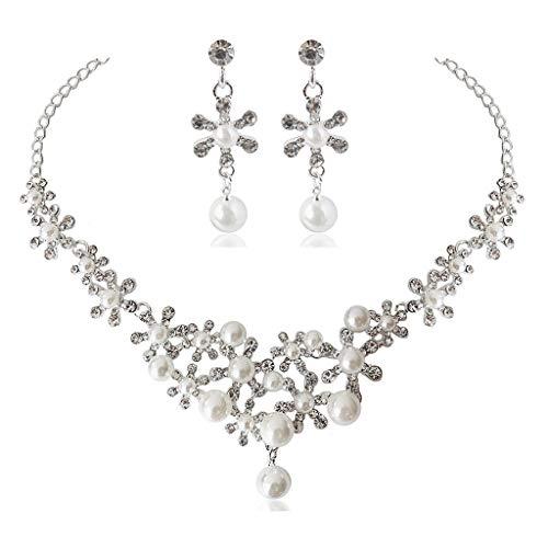 N/A. Elegante joyería de compromiso con cristales florales blancos para mujer, joyería para el matrimonio, collar y pendientes