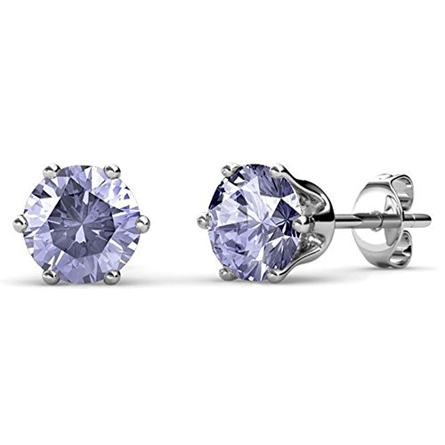 Cate & Chloe June Birthstone Stud Earrings, 18k White Gold Plated Earrings with 1ct Gemstone Swarovski Alexandrite Crystals, June Birthstone Jewelry for Women