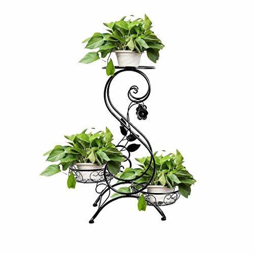 Bloemenstandaard 3 Gekleurd Scroll Decoratief Zwart Metaal Tuin Patio Plant Pot Rack Kruidenrek Binnen Outdoor Moder