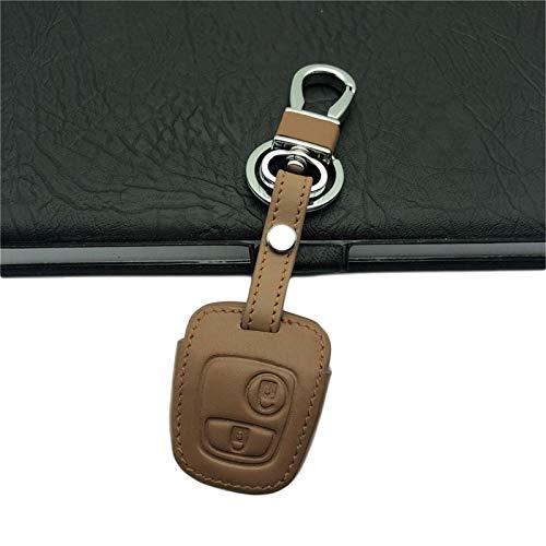 HUAQIANYU Llavero de piel para llave de coche con 2 botones, para Peugeot 106 107 206 207 307 406, para Citroen C2 llavero anillo titular marrón