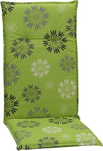 Beo Gartenstuhlkissen Polster Kissen für Hochlehner Pusteblumen grau Weiss auf hellgrünen Hintergrund