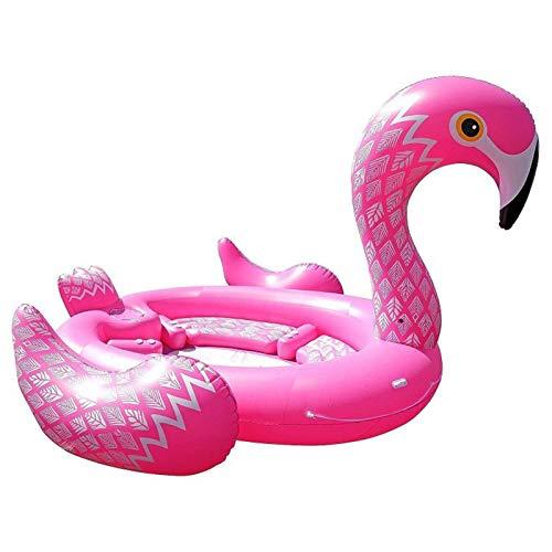 JSJE Piscina flotante, grande multipersona, flamenco cama flotante, para casa, al aire libre, partido, playa, baldosas, niños, adultos, familia juguete