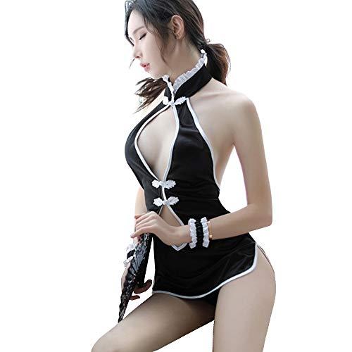 YOMORIO Sexy Cheongsam Lingerie Women's Keyhole Qipao Dress Anime Cosplay Side Split Sleepwear Black