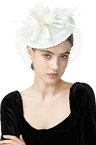 BABEYOND Feder Fascinators Hut Damen Ahorn Blatt Mesh Hochzeit Braut Elegant Fascinator Haarreif Cocktail Tee Party Damen Fasching Kostüm Accessoires (Beige)