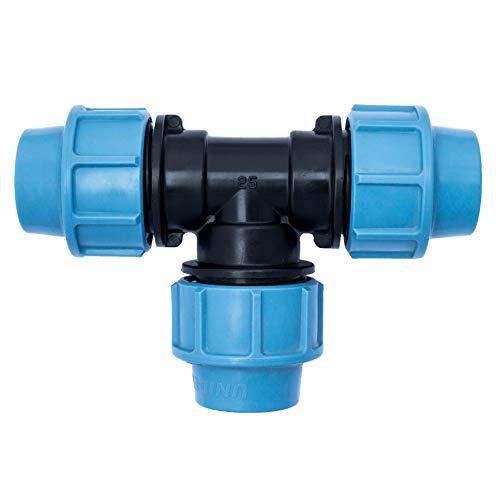 MDPE PE PP Wasserrohr T-Stück 3 x 25mm weiblich | Klemmverschraubung Kunststoff | Klemmverbinder für PE/MDPE Rohre