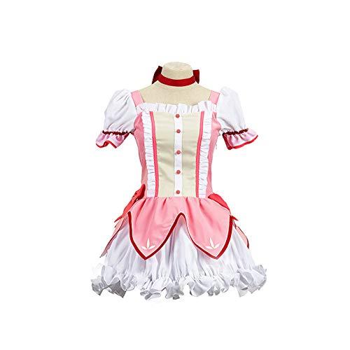 Nobranded Conjuntos Completos Anime Uniforme Cosplay, Magical Girl Puella Kaname Madoka Cosplay Disfraz Vestido Traje para Adolescentes, Adultos, Vestido + Guantes + Arco
