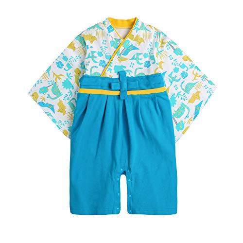 袴 ロンパース 男の子 衣装 ベビー服 赤ちゃん 和装 和服 フォーマル カバーオール 出産祝い (きょうりゅう, 70cm)