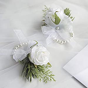 Floroom White Rose Wrist Corsage Wristlet Band Bracelet for Women Bride Bridesmaid Wedding Prom Set of 2
