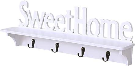 TOPBATHY Sweet Home Wall Shelf Decorative Wall Mounted Floating Shelves with 4 Hooks Rustic Wall Storage Rack Organizer Ha...