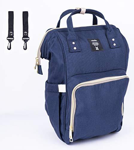 Wickelrucksack Wickeltasche Baby Tasche mit 2 Kinderwagenhaken Multifunktional Oxford Tuch Isolierte Fläschenfächer Für Mama und Papa(Blau)