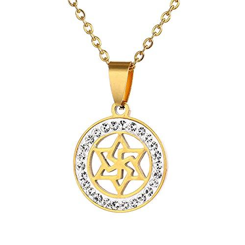 Escudo judío Magen Colgante Estrella de David Collar Acero inoxidable Yahadut Oro / Plata Color Hombres / Mujeres Israel Judaísmo Joyería-Oro-B_50CM