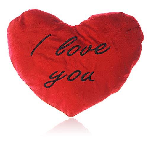 Herzkissen I Love You groß | Hochwertiges XXL Kuschelkissen sehr flauschig in Rot | Plüsch-Kissen Herz I Love You ideal Sie & Ihn