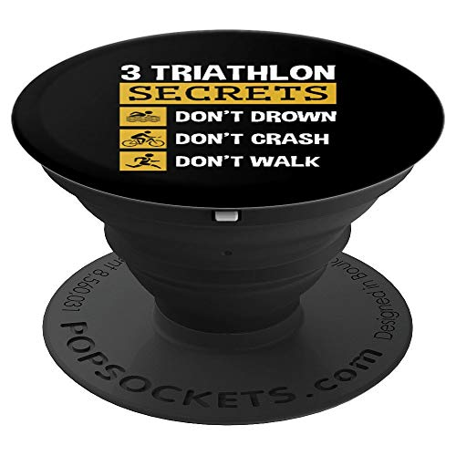 Funny Triathlon Triathlete Swim Bike Run 3 Secrets PopSockets Grip and Stand for Phones and Tablets