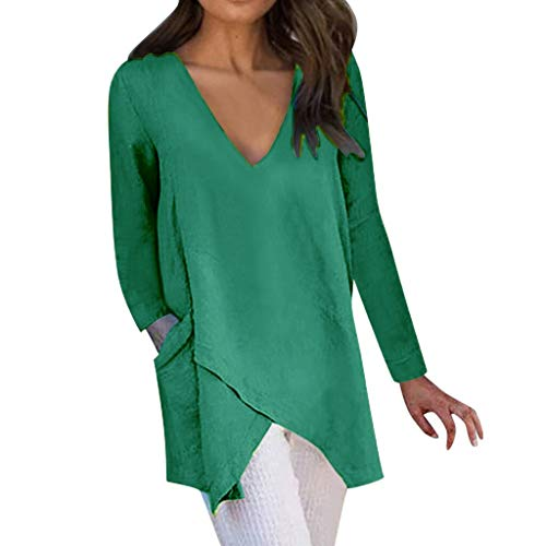 aihihe Women Long Tops Wear with Leggings Long Sleeve V Neck Tops Wrap Front Irregular Twist Hem Solid Blouses Tunic Green