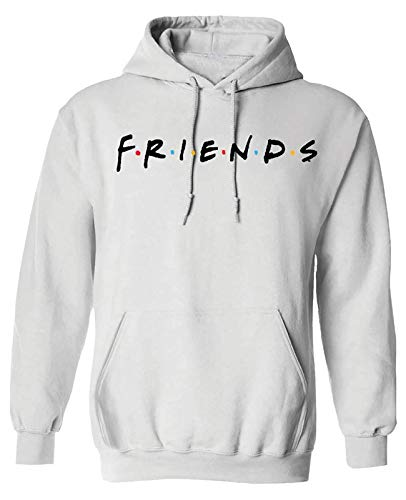 IML Friends Unisex Across Chest Letter Print Pullover Hoodie Sweatshirts - White/X-Large