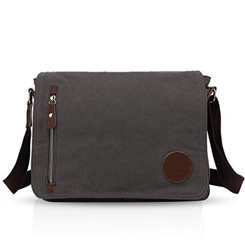 FANDARE Unisex Borsa a Tracolla per 14 pollici Laptop Messenger Bag Uomo Donna Borse a Spalla Sacchetto di Tela Multifunzione Canvas per Lavoro Scuola Viaggio Shopping Crossbody Bag Dark Grigio