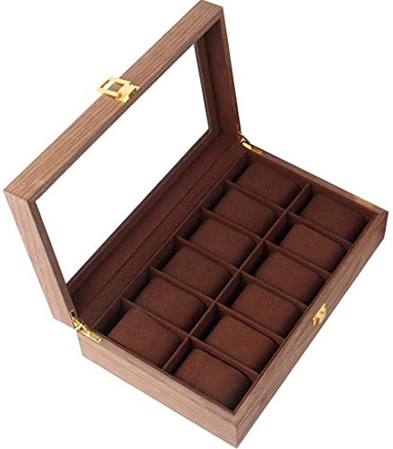 lqgpsx Uhr Display Aufbewahrungsbox Vitrine Aufbewahrungsbox 12-Fach Massivholz Uhr Box Organizer Case Glasabdeckung Juwelier Aufbewahrungsbox Geburtstagsgeschenk Vitrine Mit