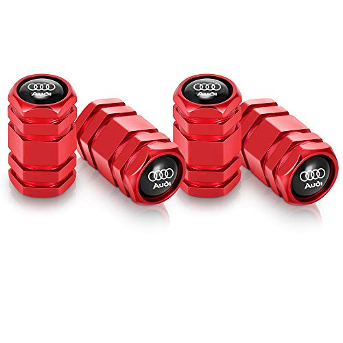 Brandless 4 Pcs Metal Car Wheel Tire Valve Stem Caps for Audi S Line S3 S4 S5 S6 S7 S8 A1 A3 RS3 A4 A5 A6 A7 RS7 A8 Q3 Q5 Q7 R8 TTWith Key Chain Logo Styling Decoration Accessories