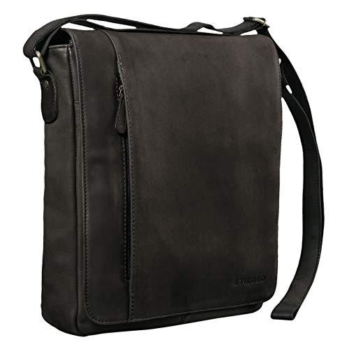 STILORD 'Paul' Umhängetasche Herren Leder Hochformat Messenger Bag im Vintage Design Ledertasche für 13,3 Zoll MacBook iPad DIN A4 Herrentasche Echtleder, Farbe:matt - Dunkelbraun